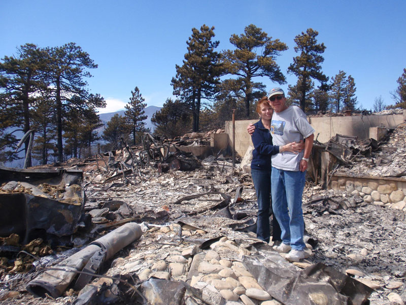 Linda Masterson and Cory Phillips after the fire